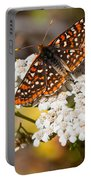 Checkerspot Butterfly On A Yarrow Blossom Portable Battery Charger