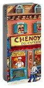 Chenoys Delicatessen Montreal Landmarks Painting  Carole Spandau Street Scene Specialist Artist Portable Battery Charger