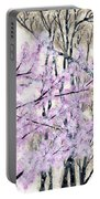 Cherry Blossoms In Spring Snow Portable Battery Charger