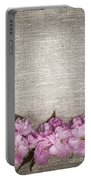 Cherry Blossoms On Linen  Portable Battery Charger