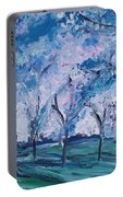 Cherry Trees Impressionism Portable Battery Charger