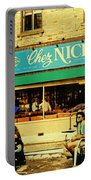 Chez Nick On Greene Avenue Montreal In Summer Cafe Art Westmount Terrace Bistros And Umbrellas Portable Battery Charger