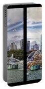 Chicago Buckingham Fountain 2 Panel Looking West And North Black Portable Battery Charger