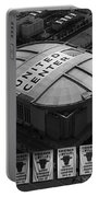 Chicago Bulls Banners In Black And White Portable Battery Charger by Thomas Woolworth