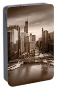 Chicago City View Afternoon B And W Portable Battery Charger