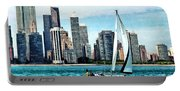 Chicago Il - Sailboat Against Chicago Skyline Portable Battery Charger