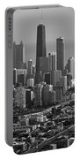 Chicago Looking East 01 Black And White Portable Battery Charger