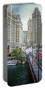Chicago Michigan Avenue V Hdr Textured Portable Battery Charger