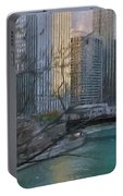 Chicago River Sunset Portable Battery Charger
