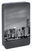 Chicago Skyline At Night Black And White Panoramic Portable Battery Charger