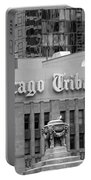 Chicago Tribune Facade Signage Bw Portable Battery Charger
