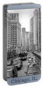 Chicago Triptych 3 Panel Black And White Portable Battery Charger