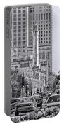 Chicago Water Tower Beacon Black And White Portable Battery Charger