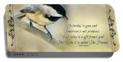 Chickadee With Inspiration Portable Battery Charger