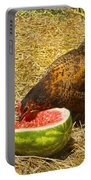 Chicken And Her Watermelon Portable Battery Charger by Sandi OReilly