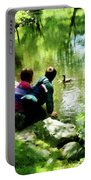 Children And Ducks In Park Portable Battery Charger