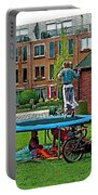 Children At Play In Enkhuizen-netherlands Portable Battery Charger