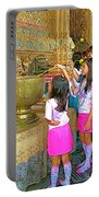 Children Bring Lotus Flowers To Royal Temple At Grand Palace Of Thailand Portable Battery Charger