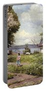Children In A Farmyard Portable Battery Charger by Peder Monsted