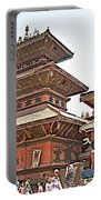 Children On Pagodas In Bhaktapur Durbar Square In Bhaktapur-nepal Portable Battery Charger
