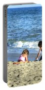 Children Playing On Beach Portable Battery Charger