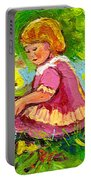 Children's Art - Little Girl With Puppy - Paintings For Children Portable Battery Charger