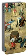 Childrens Games Kinderspiele Detail Of Bottom Section Showing Various Games, 1560 Oil On Panel Portable Battery Charger