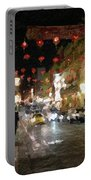 China Town At Night Portable Battery Charger by Linda Woods