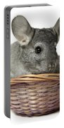 Chinchilla In A Straw Basket  Portable Battery Charger