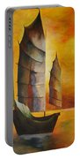 Chinese Junk In Ochre Portable Battery Charger by Tracey Harrington-Simpson