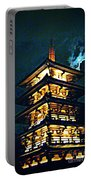 Chinese Pagoda At Night With Full Moon Portable Battery Charger