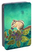 Chipmunk In Blackberry Brambles Portable Battery Charger