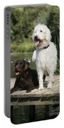Chocolate And Cream Labradoodles Portable Battery Charger