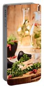 Chopping Herbs Portable Battery Charger by Amanda Elwell