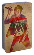 Chris Martin Coldplay Watercolor Portrait On Worn Distressed Canvas Portable Battery Charger
