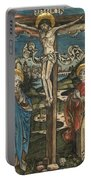 Christ On The Cross With Mary And Saint John Portable Battery Charger by German School