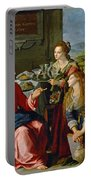 Christ With Mary And Martha Portable Battery Charger