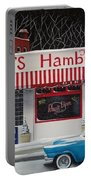 Christmas At Ray's Diner Portable Battery Charger by Catherine Holman