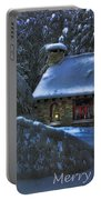 Christmas Card Moonlight On Stone House Portable Battery Charger