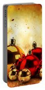 Christmas Glass Balls On Winter Gold Background Portable Battery Charger
