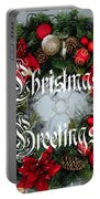 Christmas Greetings Door Wreath Portable Battery Charger