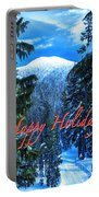 Christmas Holidays Scenic Snow Covered Mountains Looking Through The Trees  Portable Battery Charger