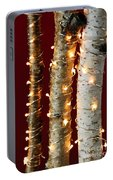 Christmas Lights On Birch Branches Portable Battery Charger