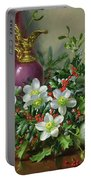 Christmas Roses Portable Battery Charger by Albert Williams