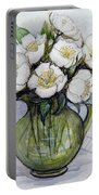Christmas Roses Portable Battery Charger by Gillian Lawson