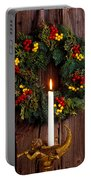 Christmas Wreath And Angel With Candle Portable Battery Charger