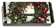 Christmas Wreath On Black Door Portable Battery Charger