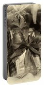 Christmasgift Under The Tree In Sepia Portable Battery Charger