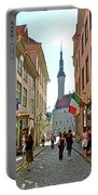 Church At End Of Street In Old Town Tallinn-estonia Portable Battery Charger