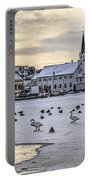 Church By Tjornin Pond Portable Battery Charger